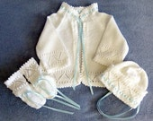 Baby Sweater Set / Layette / Girl / Boy / Knit / Heirloom Keepsake / MADE TO ORDER-Available in Yellow.