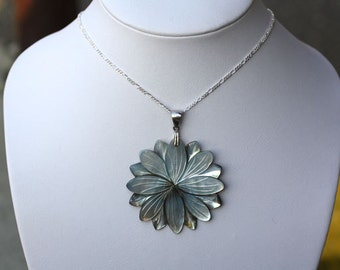 natural mother of pearl and sterling silver  flower necklace, 925 silver flower necklace pearl necklaces,