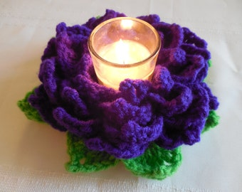 Royal Purple Flower votive candle holder