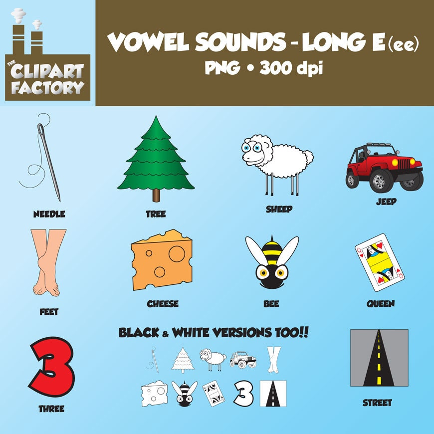 Clip Art: Vowel Sounds Long EeeImages For Words With Long E