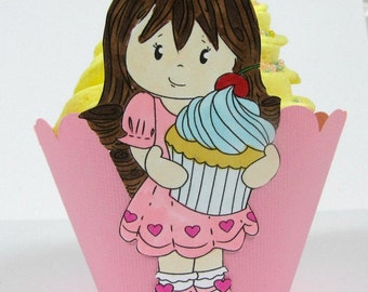 Girl Cupcake Wrappers, First Birthday Party Cupcake Holder, Baby Shower Decor, Second Birthday or Baby Girl Shower Cupcake