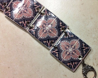 bracelet with six miniature of portuguese tiles, made in polymer clay