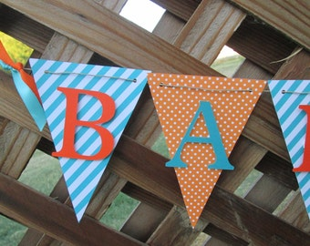 Teal and orange Baby shower banner, Welcome Baby , baby shower decorations, Welcome baby banner