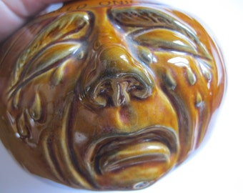 Vintage pottery lidded pickled onions face pot anthropomorphic sad crying  face