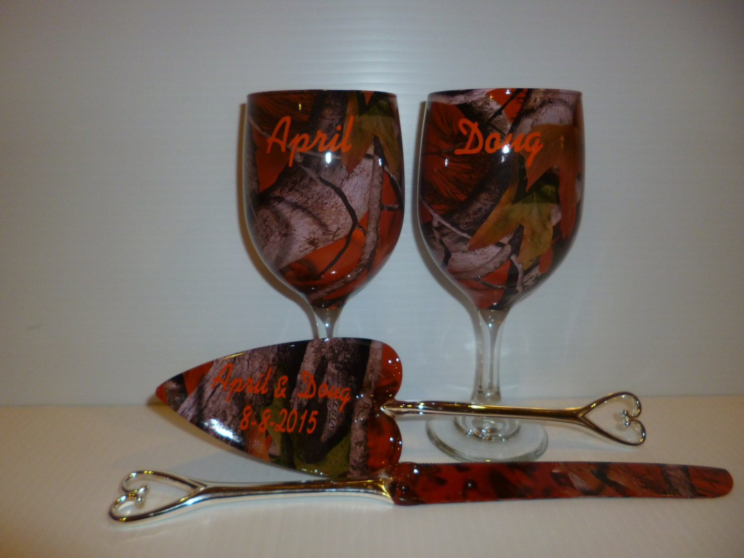 Personalized rustic wedding camo wine glasses and by