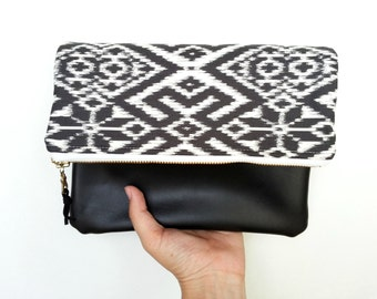 Geometric Pouch, Black and White Ikat, Clutch Purse, Fair Isle Bag, Purse Fold Over, Zipper Pouch Fold