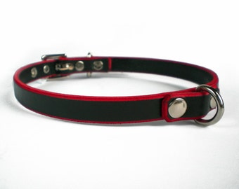 "1/2"" Black Leather w/ Red Edges, Fetish BDSM Collar with dee/d-ring- day choker for slave or sub"