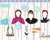 First-On-Etsy! Frozen Props Complete Characters for Frozen Birthday Party. Instant Download Frozen Printables. DIY Frozen photobooth props.