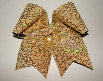 Gold Squiggle Sequin Cheer Bow
