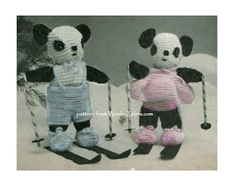 Toy PANDA Knitting Pattern PDF 529 from ToyPatternLand by WonkyZebra