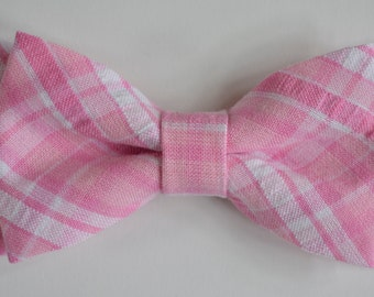 Pink plaid Bow Tie Clip for Kids, pink Bowtie, Kids Bow tie, Bow Tie Clips, Bow Ties, Boys Bowties, Boys Bow Tie, Baby Bowtie