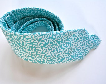 Aqua blue floral tie,aqua and white floral cotton