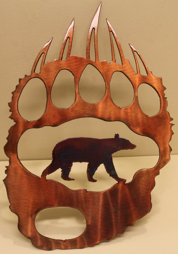 Bear track with bear metal wall art home decor for Bear decorations for home