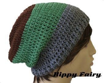Mens Three tone slouchy beanie hat in Rich Brown, Moss Green and Stone gray