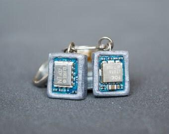 Polymer clay earrings Phone parts earrings Cyberpunk earrings Upcycled Geek earrings Silver Techie Small earrings Circuit board earrings