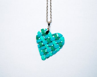 Polymer clay necklace Heart necklace Spring necklace Green necklace Mint necklace Woven necklace One of a kind necklace Casual Spring Summer