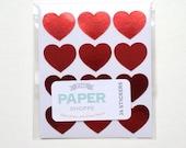 Mini Red Foil Heart Sticker - Set of 36