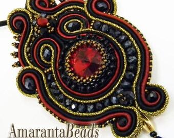 """Soutache pendant, soutache necklace, soutache bijoux """"True Love"""""""
