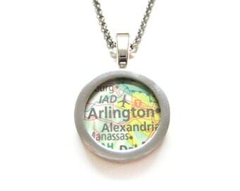 Arlington Virginia Map Pendant Necklace