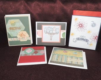 Set of 5 Handcrafted Blank Greeting Cards / Note Cards