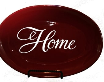 Home oval red plate