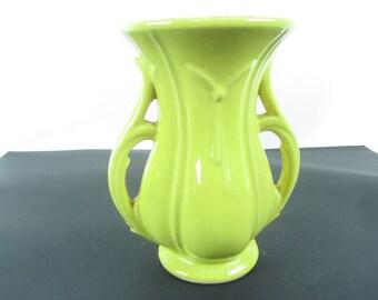 YELLOW McCOY DOUBLE Handle VASE, Ceramic Vase, Art Deco