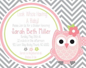 Pink and Grey Owl Baby Shower Invitation
