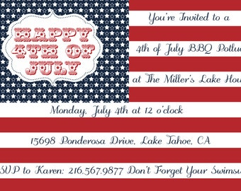 Fourth of July Flag Invitation