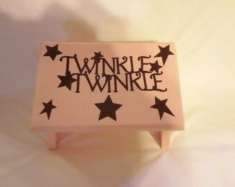 Twinkle Twinkle Stool in Peach with Brown lettering