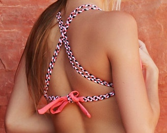Coral Triangle Top w/ Braided Straps  -  3 Color Braids - Fully Lined - High Quality Swimwear Fabric - New