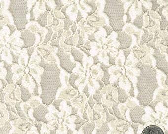 Tan Plush Floral Pattern Cotton Lace Fabric - 1 Yard Style 113