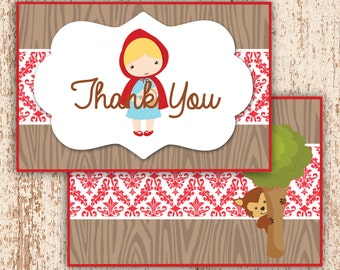 PRINTABLE Little Red Riding Hood - Thank You Card Foldable Printable