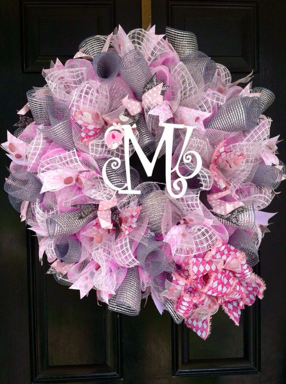 large mesh wreath baby girl shower nursery hospital door room decor pink white grey personalized