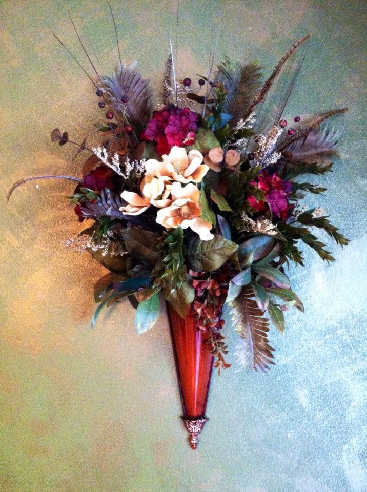 Wall Sconce Burgandy and Cream Silk Flowers Floral Arrangement on Silk Flower Wall Sconces Arrangements id=27892