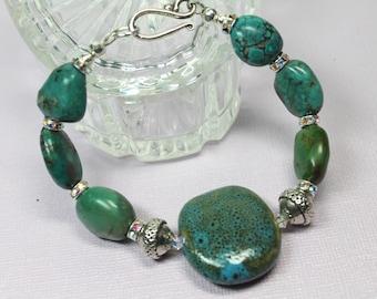 Turquoise Chunky Gemstone Bracelet, Dark Green Bracelet, Turquoise Stacking Bracelet, Turquoise Nugget Bracelet, Turquoise Jewelry