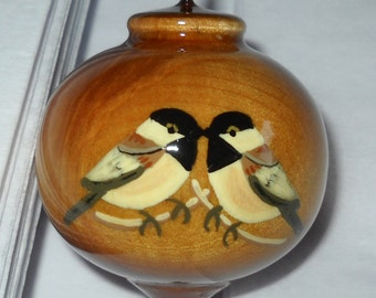 Chickadees Christmas Ornament, Birds of a Feather, Solid Wood Ornament, WBO-18