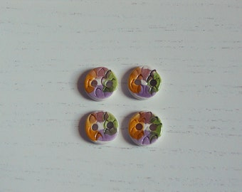 4 painted buttons set/Round buttons set