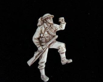 Vintage WW II Plastic Solider Pin