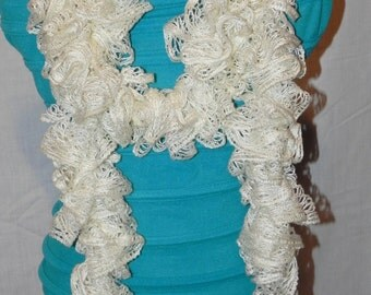 Off White Ruffle Knit Scarf