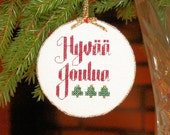 Cross Stitch Christmas Ornament - Hyvää Joulua Finnish Merry Christmas