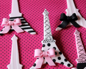 Set of Eiffel Towers cupcake toppers