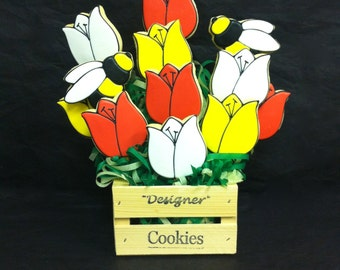 Get Well Cookie Gift, Birthday Cookie Gift, Thank You Gift Idea, Tulips and Bumblebees Cookie Bouquet, Thinking of you Cookie Bouquet