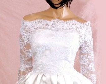 Bridal  Off-Shoulder / French Lace wedding jacket/ Bolero shrug/  jacket /bridal lace top
