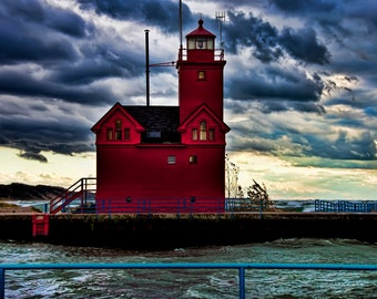 Michigan Photography, Michigan Photo, Michigan, Lighthouse,Holland MI, Fine Art Print, Art, Big Red, Holland Michigan, Lighthouse Photo