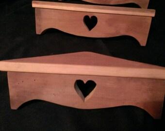 Set of three reclaimed barn wood shelves (cross, star or heart)