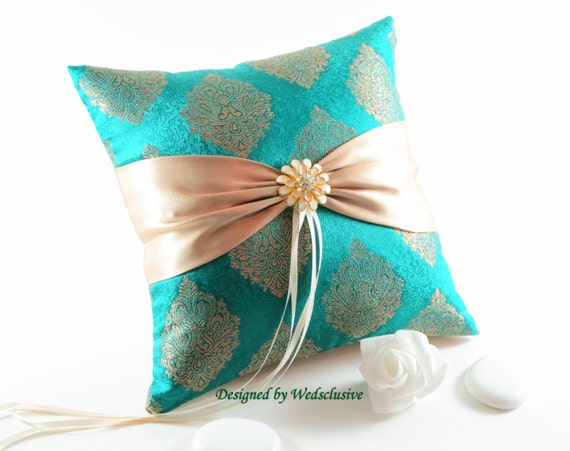 Golden Peacock- Teal and gold silk ring pillow