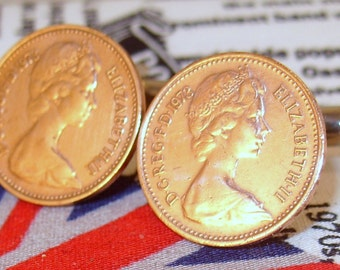 Boxed Pair Vintage British 1973 Half Pence Penny Coin Cufflinks Wedding 44th Birthday Anniversary