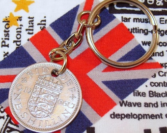 1966 Old English Shilling Coin Keyring Key Chain Fob Queen Elizabeth
