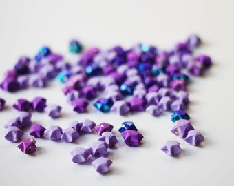 Purple lucky stars - handfolded origami stars 100 pieces - handmade Japanese paper stars