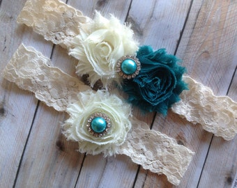 Teal Wedding Garter, Teal Wedding Garter Set - Blue Wedding Garter, Lace Wedding Garter, Wedding Garter, Teal Bridal Garter, Blue Garter